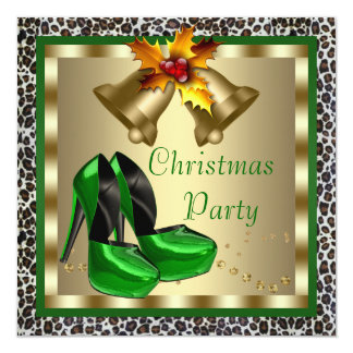 Chic Green High Heel Shoes Christmas Party 13 Cm X 13 Cm Square Invitation Card