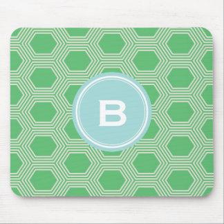 Chic green honeycomb geometric patterns monogram mouse pad