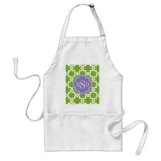 Chic green interlocking pattern monogram standard apron