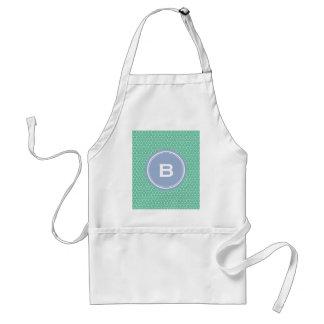 Chic green interlocking triangle pattern monogram standard apron