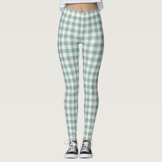 Chic Green Mint White Gingham Stripes Leggings