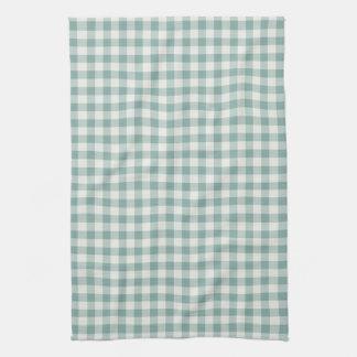 Chic Green Mint White Gingham Stripes Tea Towel