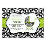 Chic Green Polka Dot Damask Baby Shower Invite 13 Cm X 18 Cm Invitation Card