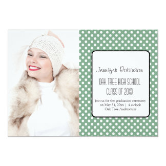 Chic Green Polka Dots Graduation 13 Cm X 18 Cm Invitation Card