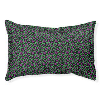 Chic Green & Purple Leopard Print Pattern Pet Bed
