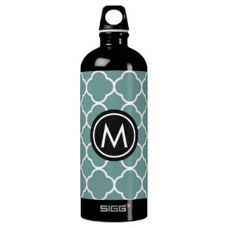 Chic Green Quatrefoil Monogram SIGG Water Bottle