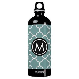 Chic Green Quatrefoil Monogram SIGG Water Bottle SIGG Traveller 1.0L Water Bottle