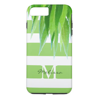 Chic Green Stripes Monogram With Green Leaves iPhone 8 Plus/7 Plus Case