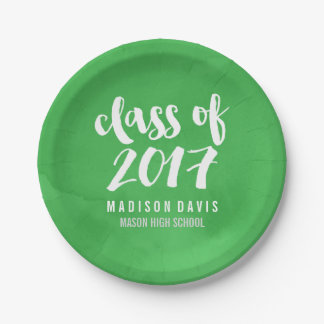 Chic Green Watercolor | Graduation Party 7 Inch Paper Plate