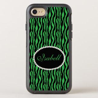 Chic Green Zebra Print Monogram Case