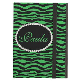 Chic Green Zebra Print Monogram Ipad Case
