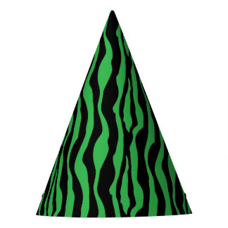 Chic Green Zebra Print Party Hats