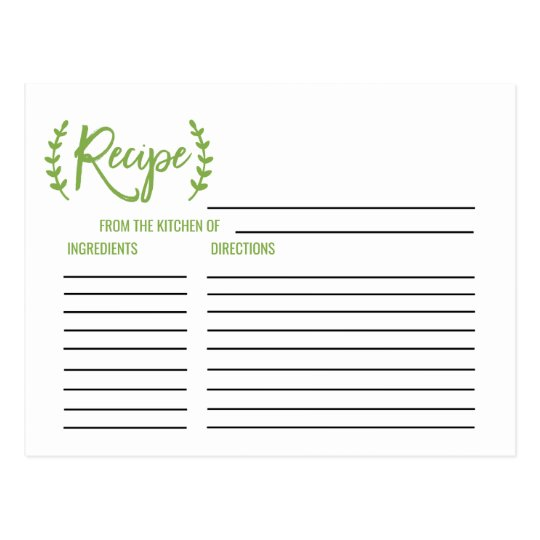 Chic Greenery Bridal Shower Recipe Cards Postcard