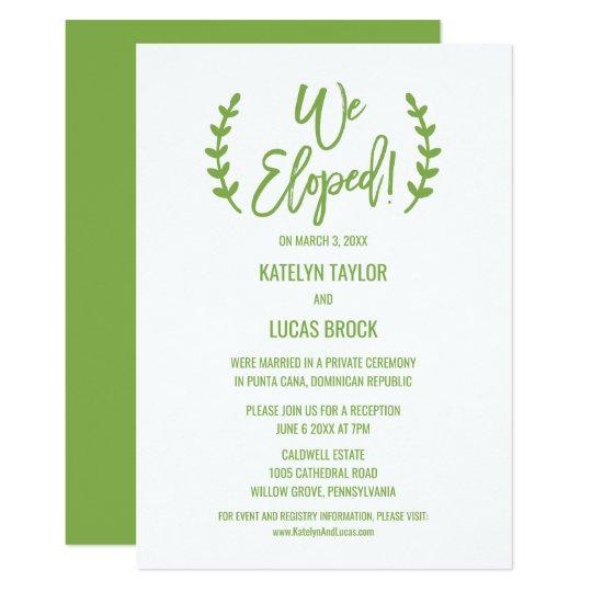 Chic Greenery Calligraphy Elopement Reception Card