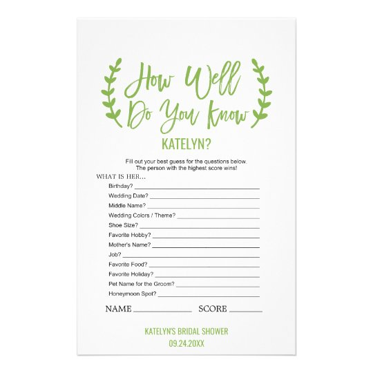 Chic Greenery How Well Do You Know The Bride Game 14 Cm X 21.5 Cm Flyer