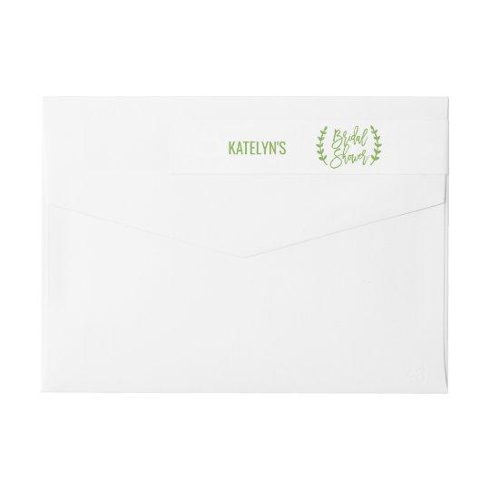 Chic Greenery Wreath Calligraphy Bridal Shower Wraparound Return Address Label