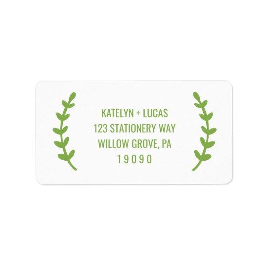 Chic Greenery Wreath Wedding Label