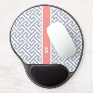 Chic grey abstract geometric pattern monogram gel mouse pads