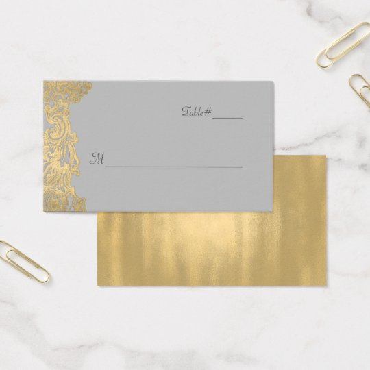 Chic Grey and Gold Wedding Place Card