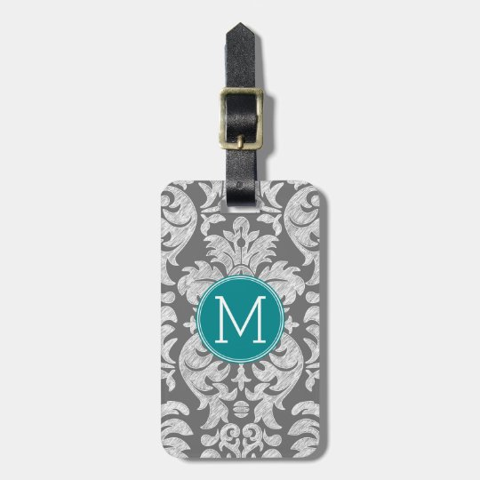 Chic Grey and Teal Damask Pattern Custom Monogram