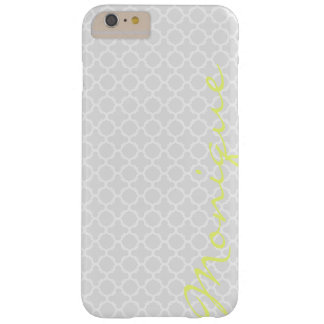 chic grey pattern with lemon text barely there iPhone 6 plus case