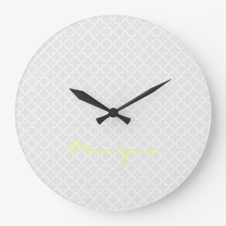 chic grey pattern with lemon text clock