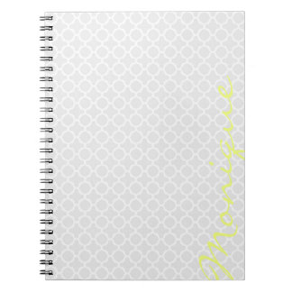 chic grey pattern with lemon text spiral notebooks