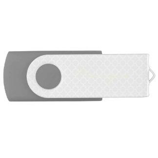 chic grey pattern with lemon text USB flash drive