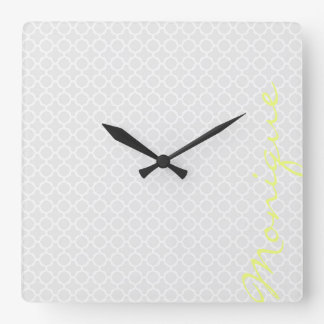 chic grey pattern with lemon text wallclock
