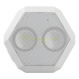 chic grey pattern with lemon text white bluetooth speaker