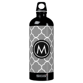 Chic Grey Quatrefoil Monogram SIGG Water Bottle