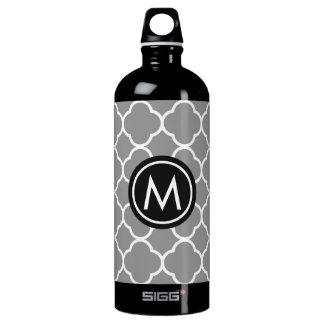 Chic Grey Quatrefoil Monogram SIGG Water Bottle SIGG Traveller 1.0L Water Bottle