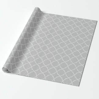 Chic grey quatrefoil trellis pattern wrappingpaper wrapping paper