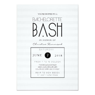 Chic Grey Stripes Bachelorette Bash Invite