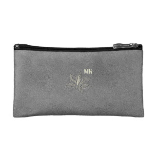 Chic Grey Textured Lily Add Initials Bag