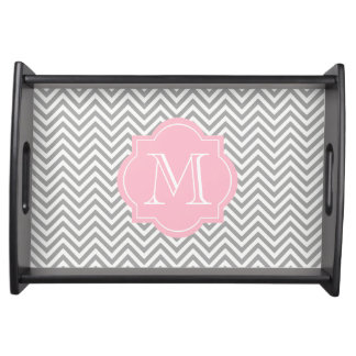Chic Grey/White Chevron Pink Monogram Serving Tray