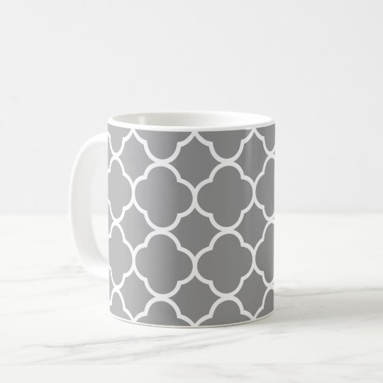 Chic Grey & White Quatrefoil Coffee Tea Mug