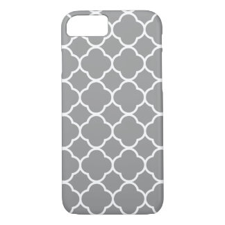 Chic Grey & White Quatrefoil Custom iPhone 7 Case