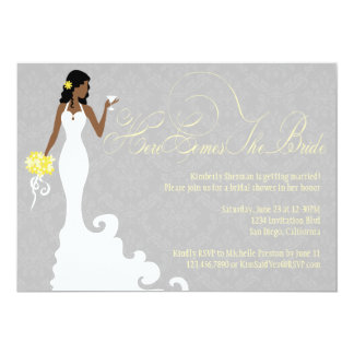 Chic Grey Yellow Here Comes the Bride Shower 13 Cm X 18 Cm Invitation Card