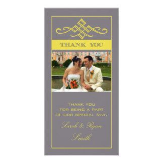 Chic Grey & Yellow Wedding Thank You Photo Cards