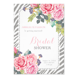 Chic Grey Zebra Print Pink Roses Bridal Shower Card