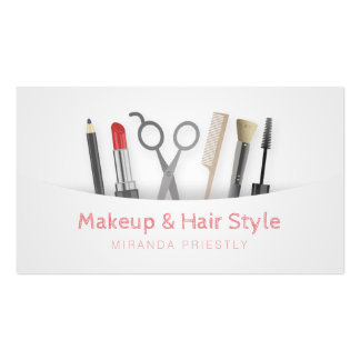 Chic Hair stylist Makeup Tools & Brushes White Pack Of Standard Business Cards