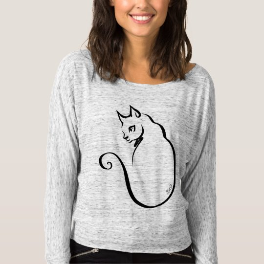 Chic Hand Drawn Cat Flowy Off Shoulder Shirt
