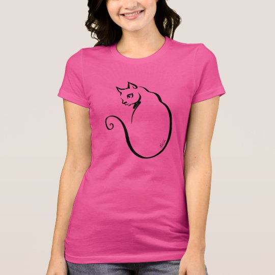 Chic Hand Drawn Cat Women's Jersey T-Shirt |