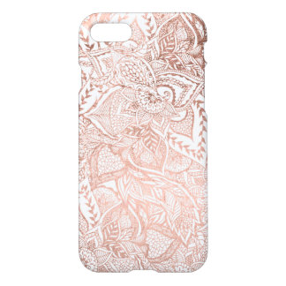 Chic hand drawn rose gold floral mandala pattern iPhone 7 case