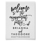 Chic Hand Lettered Engagement Welcome Sign