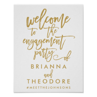 Chic Hand Lettered Gold Engagement Welcome Sign