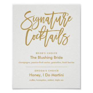Chic Hand Lettered Gold Signature Cocktails Menu Poster