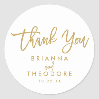 Chic Hand Lettered Gold Thank You Favor Label