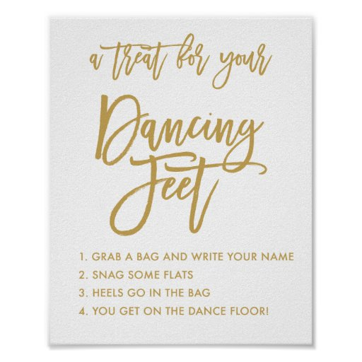 Chic Hand Lettered Gold Wedding Dancing Feet Sign